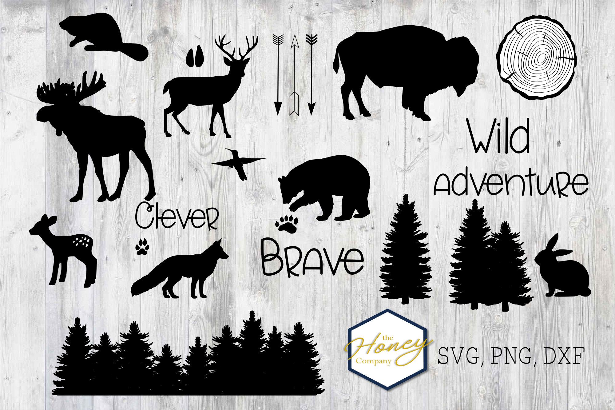 Woodland Animal Bundle SVG PNG DXF Nursery Shapes Bear Moose example image 1