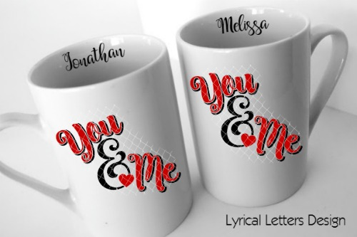 You & Me Ampersand Valentine's Day SVG DXF Cut File LL102C example image 2