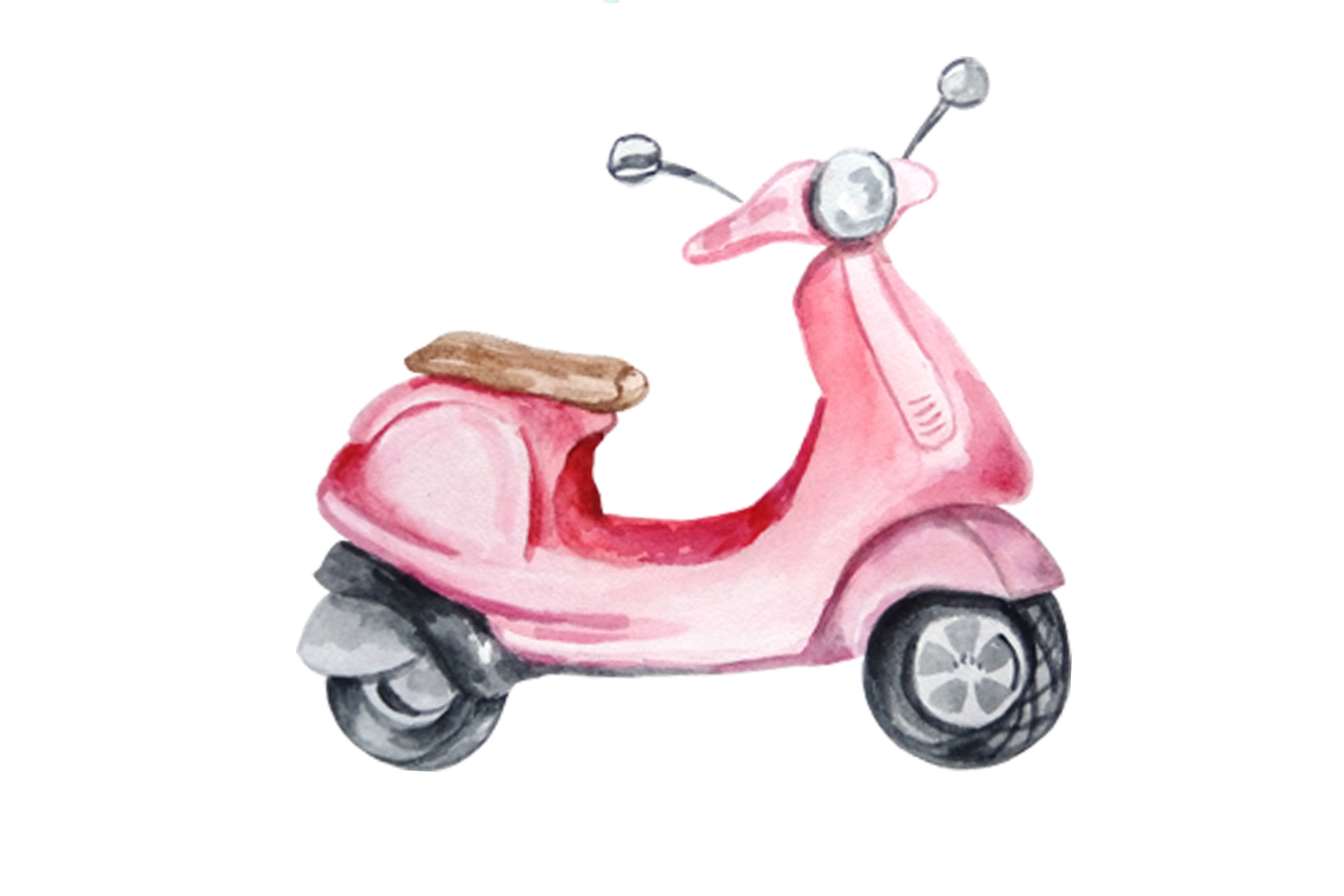 Watercolor Retro Red Moped Clipart Set example image 6