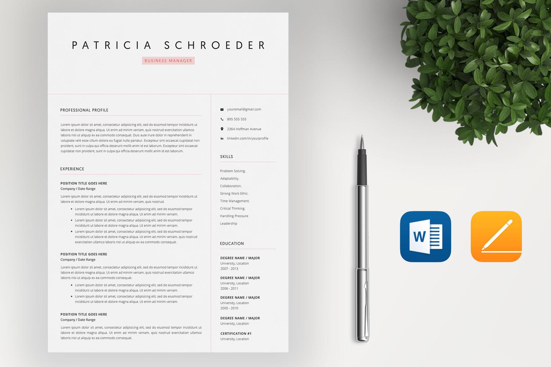 Elegant Resume | Word Resume | Cover Letter example image 2