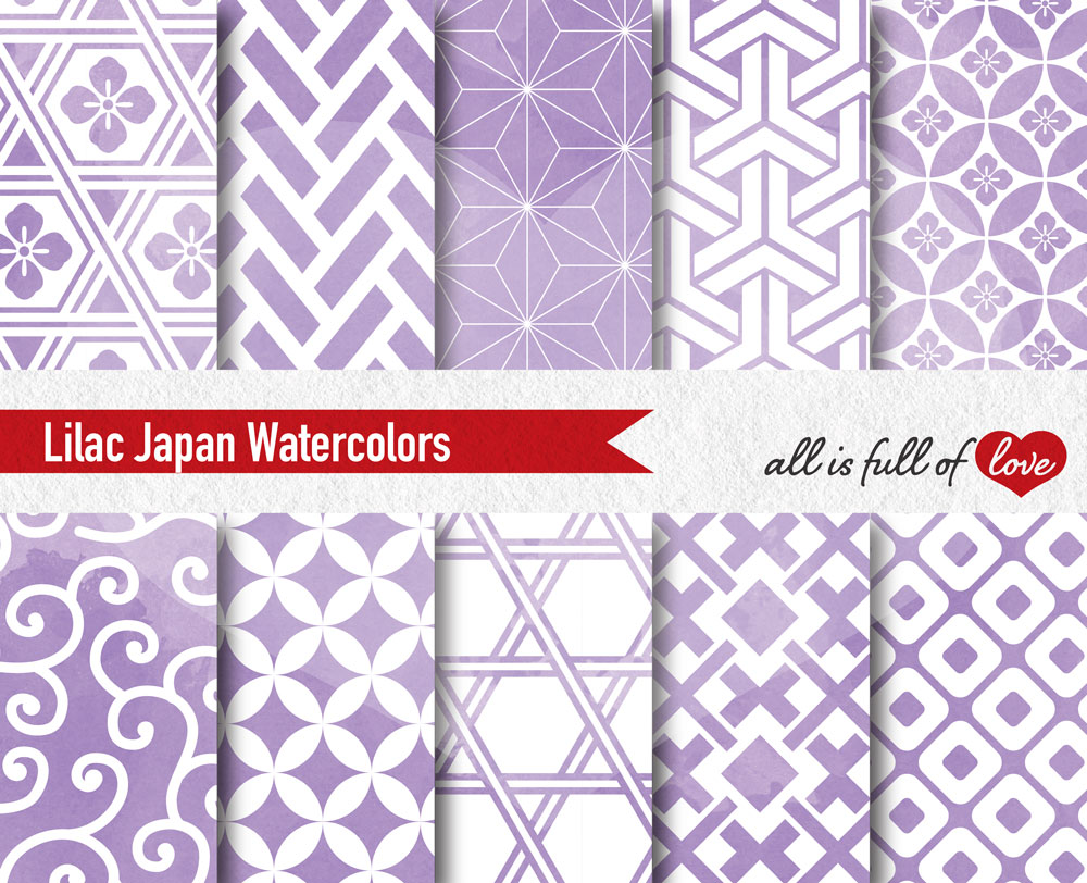 Lilac Digital Paper Japanese Background Patterns example image 2