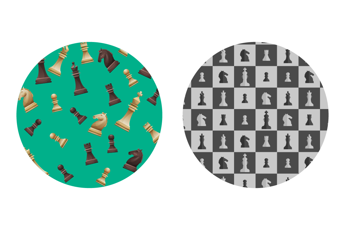 Vector Chess set: 4 sets pieces in 2 slyles, 6 posters, 2 pattern, chessboard example image 3
