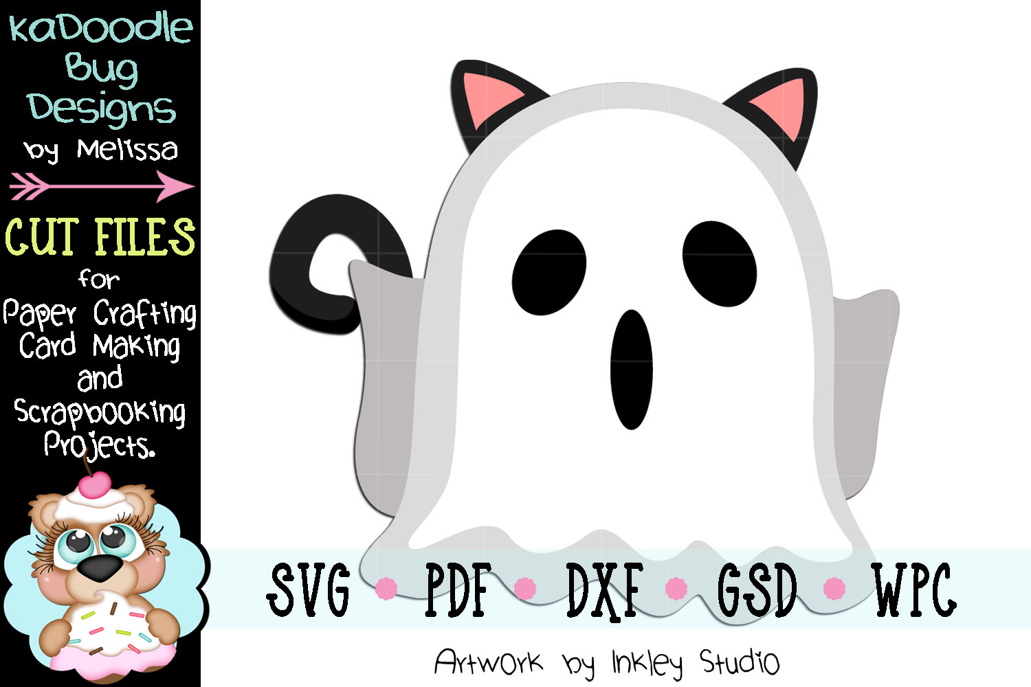 Halloween Ghost Cat Cut File - SVG PDF DXF GSD WPC example image 1