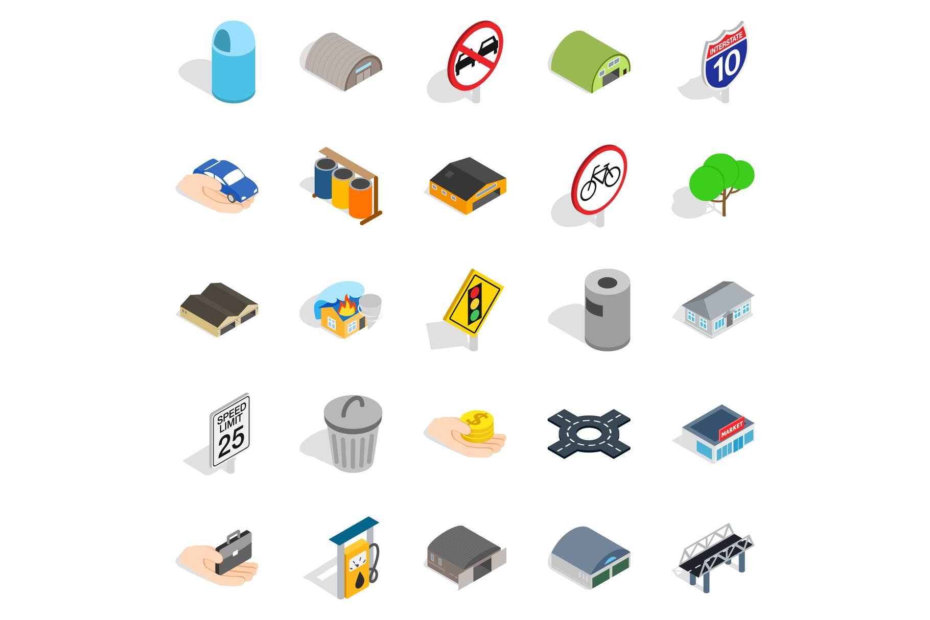 Urban buildings icons set, isometric style example image 1
