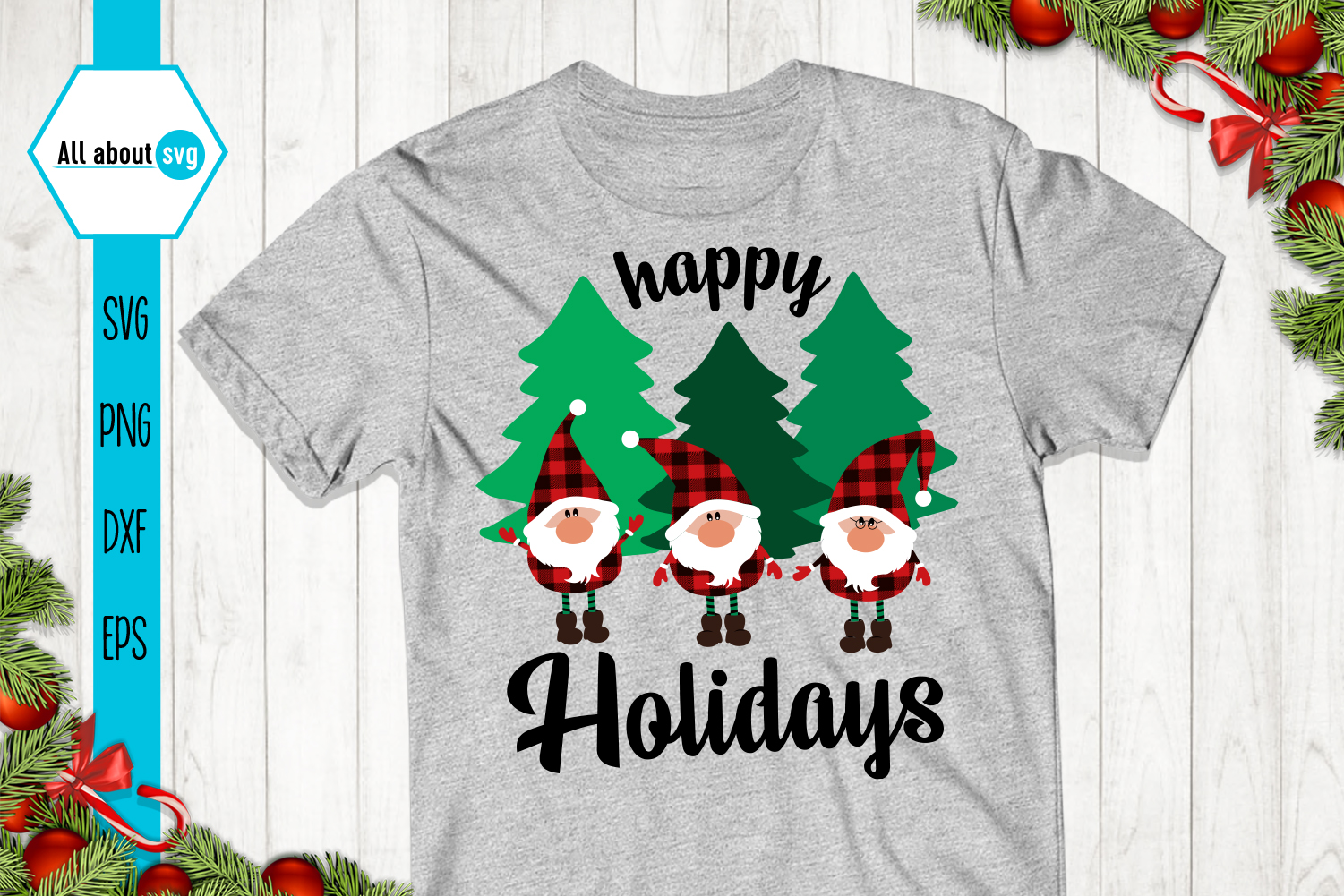 Happy Holidays Svg, Gnomies Buffalo Plaid Svg example image 2