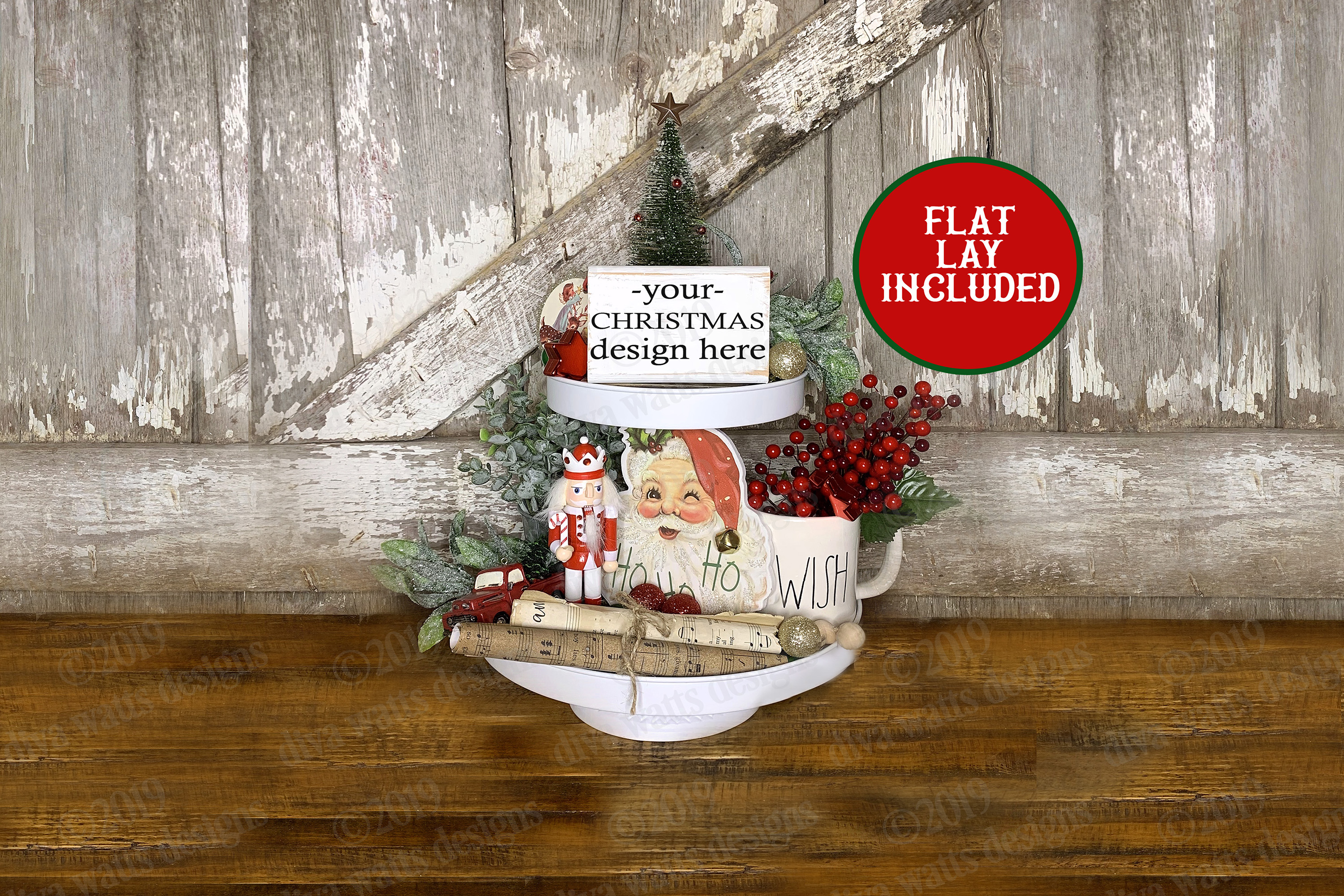 Christmas Tiered Tray Mockup Set with Flat Lay Included example image 3