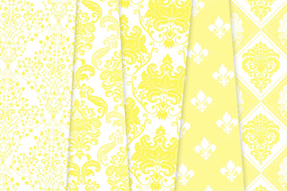 28 Yellow Damask Patterns - Seamless Digital Papers Bundle example image 4
