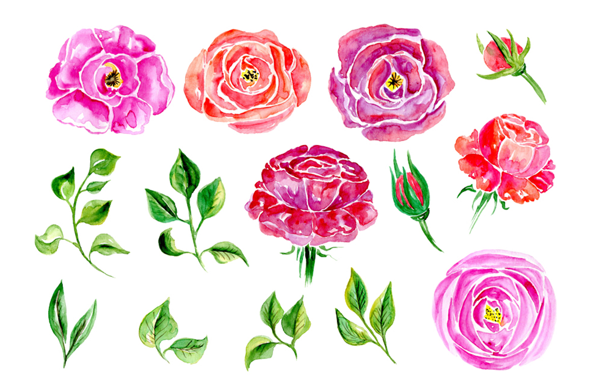 Watercolor flowers, 14 elements example image 2