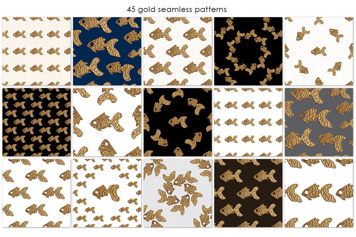 GOLDFISH collection. Hand painted patterns. example image 4