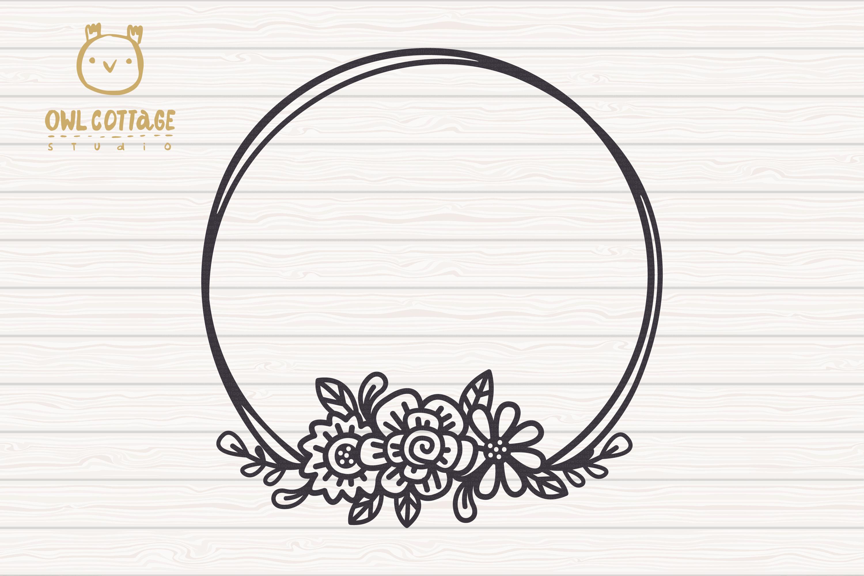 Valentines Floral Monogram cut file, Circle Flowers Wreaths example image 3