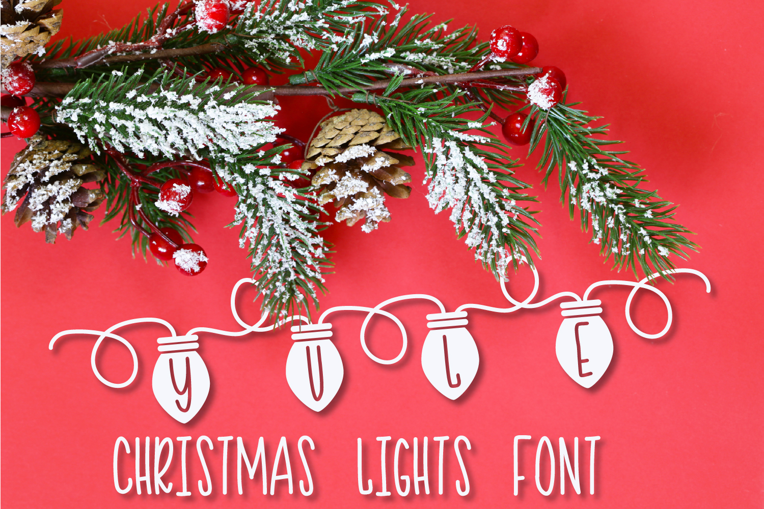 YULE - Christmas Lights Font  example image 1