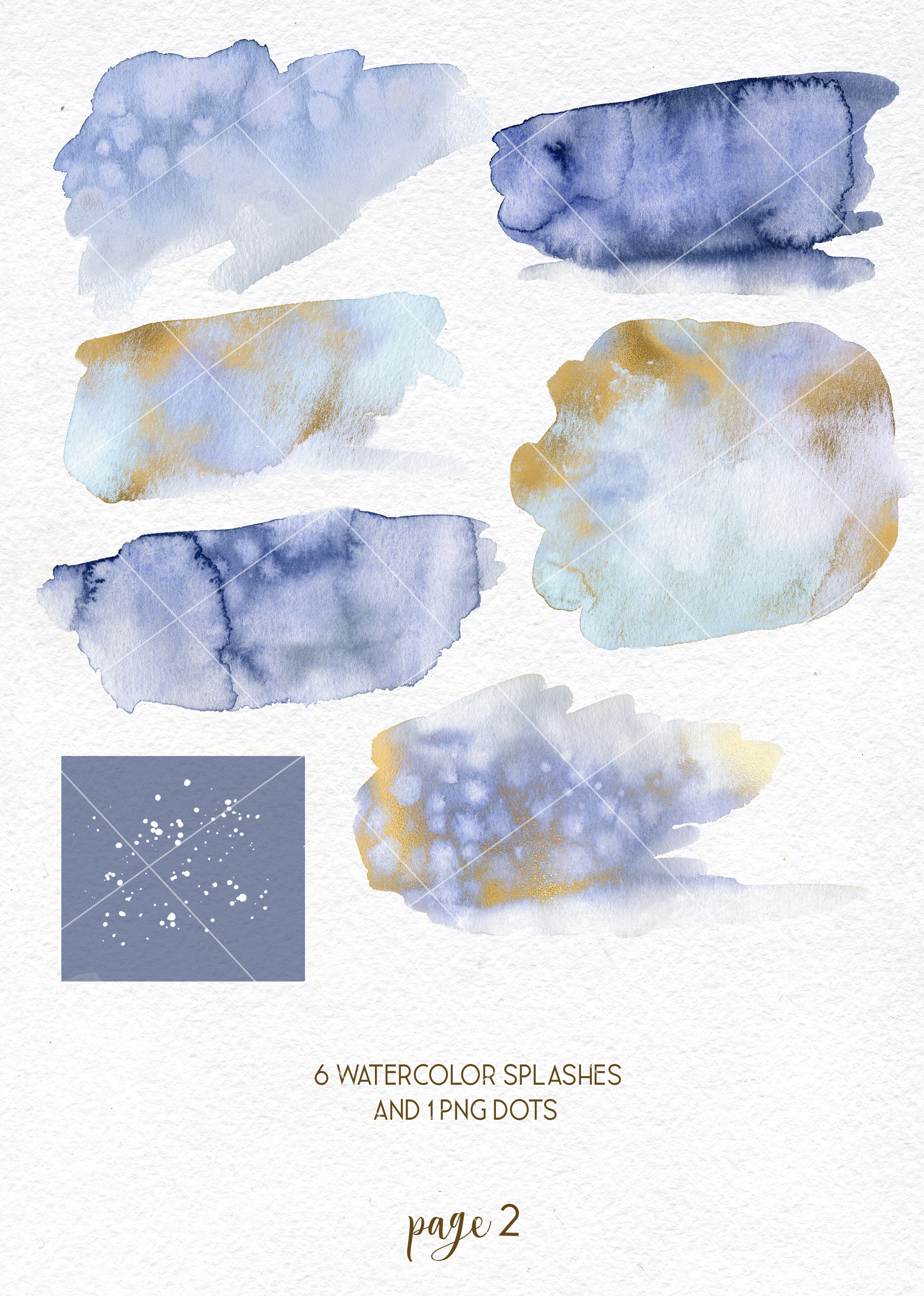 Winter snowflakes clipart set with watercolor splashes example image 4