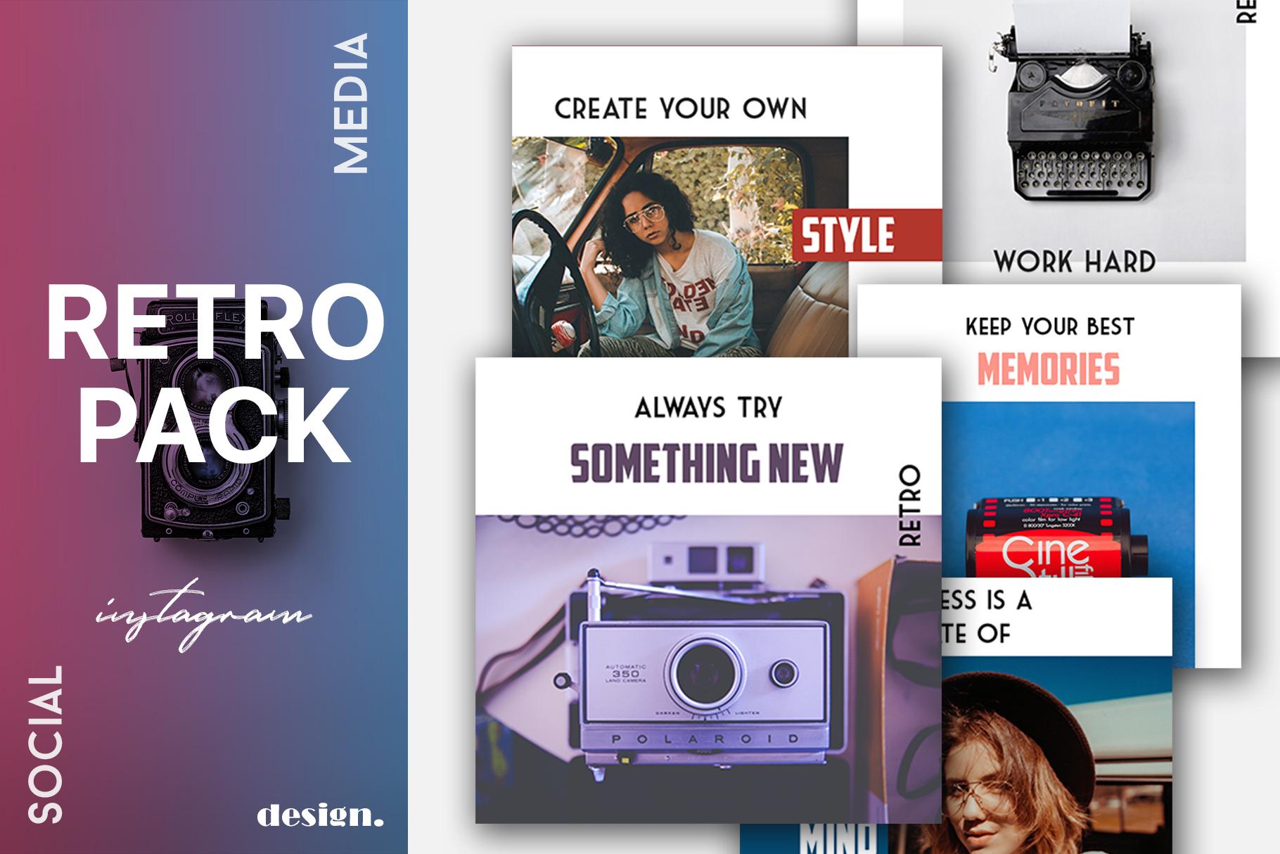 Retro Instagram Templates Pack example image 1