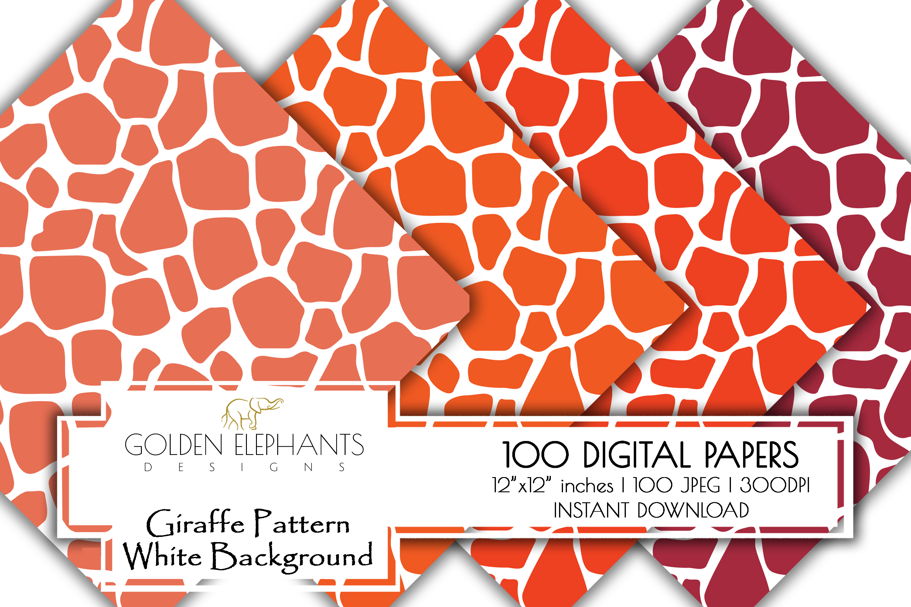 100 Giraffe Pattern w/ White Background Digital Paper example image 4