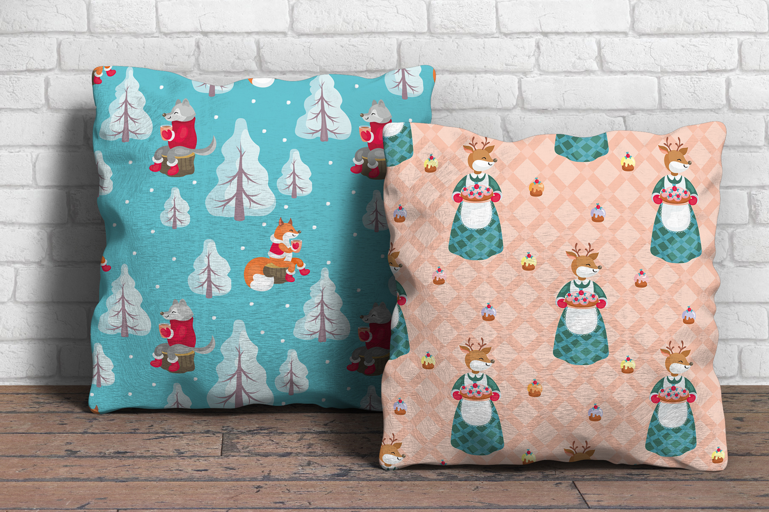 Winter Tea Party. Seamless patterns set. example image 3