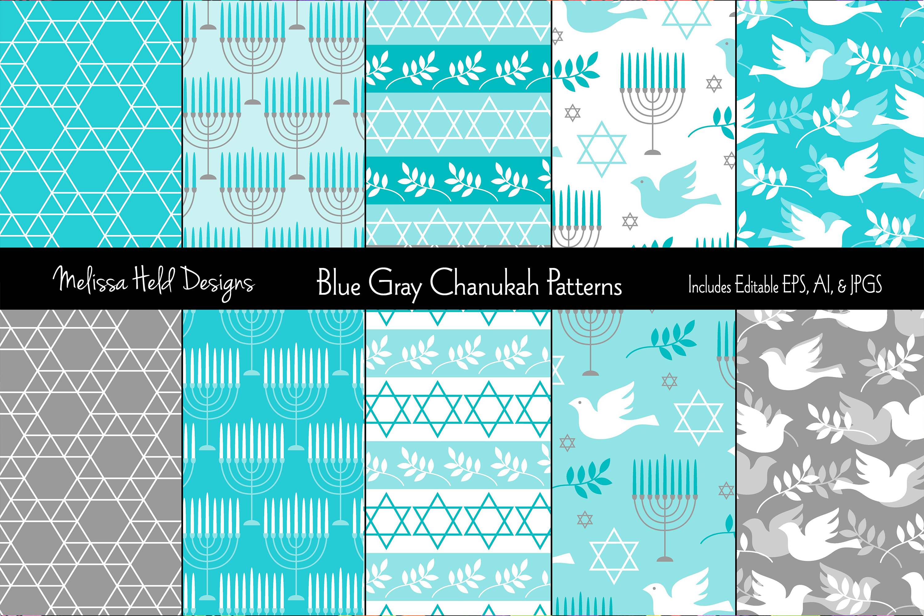 Blue Gray Hanukkah Patterns example image 1