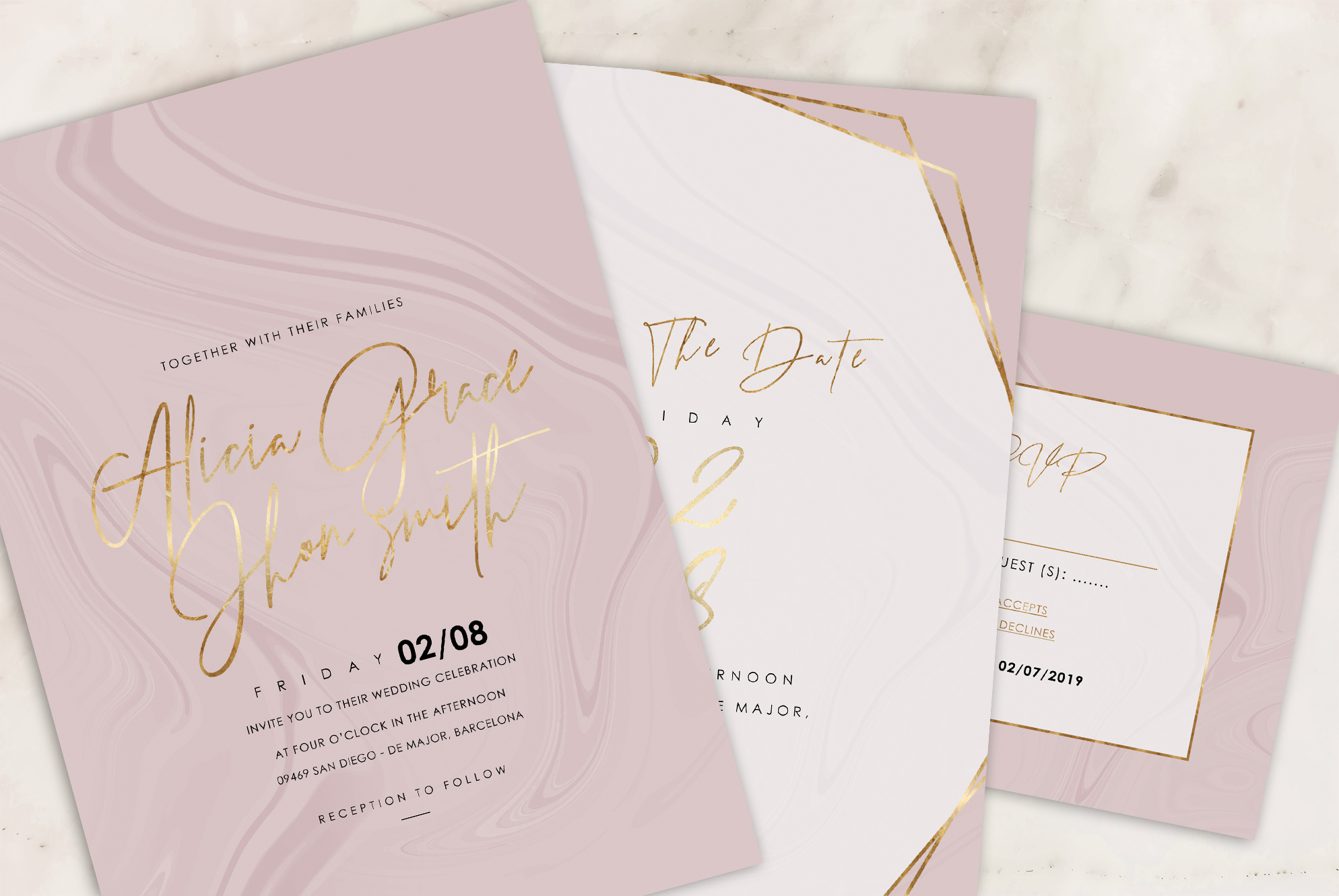 Marble Wedding Invitation - 6 Collections example image 9