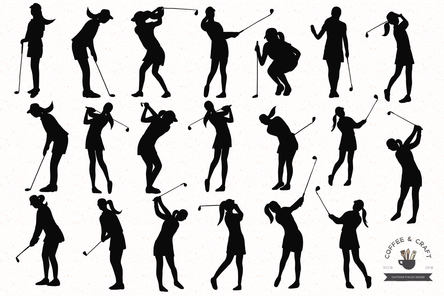 Golfer silhouettes female example image 2