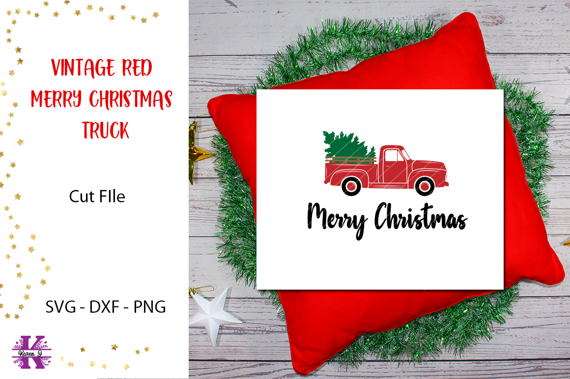 Vintage Red Merry Christmas Truck SVG example image 1