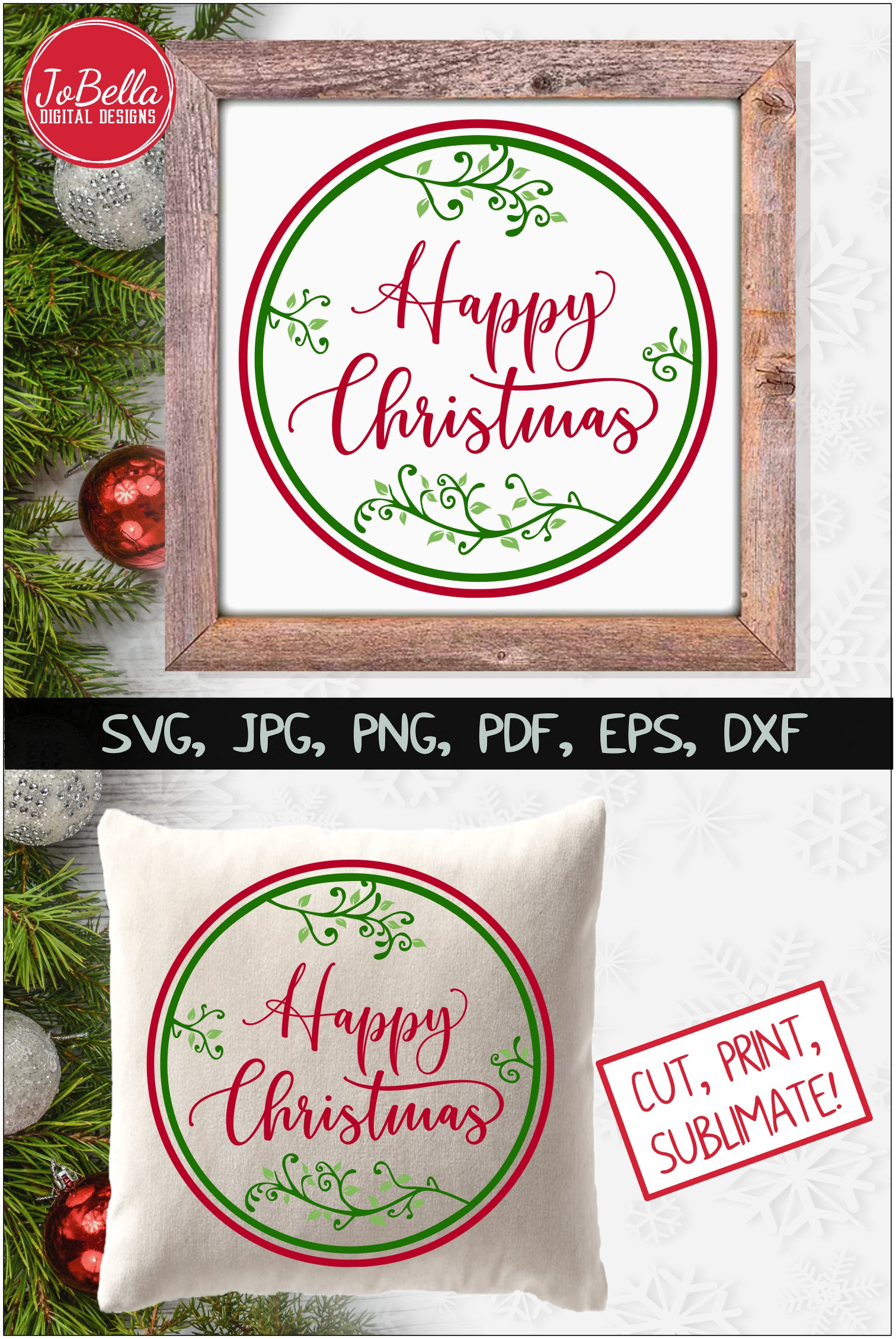 Happy Christmas SVG Printable & Sublimation PNG example image 4