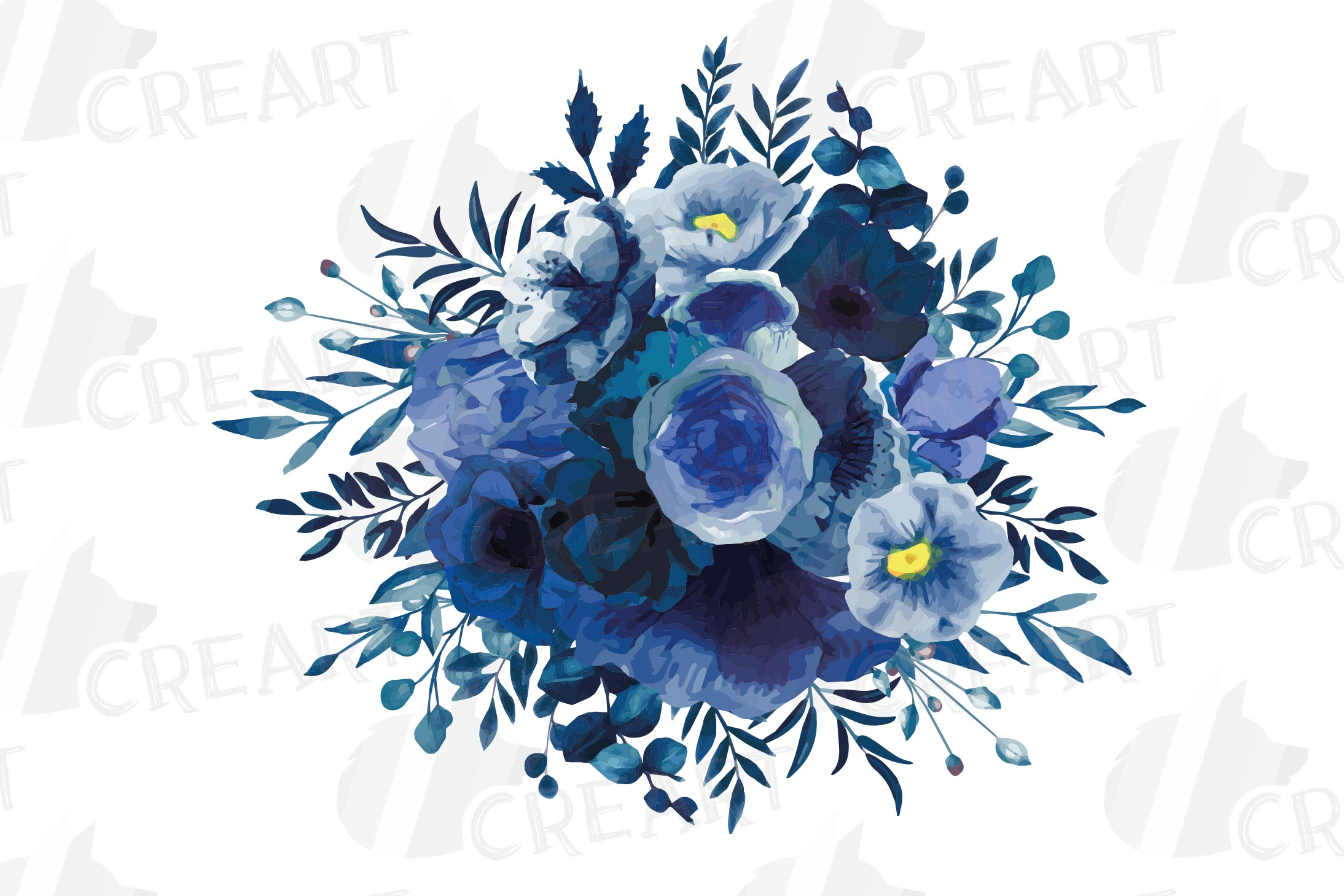 Navy blue and blush pink floral watercolor bouquets clip art example image 11