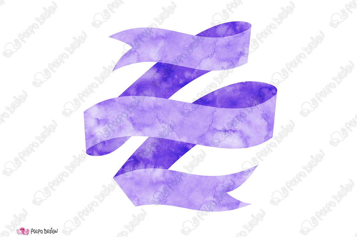 Purple Watercolor Banner clip art example image 3