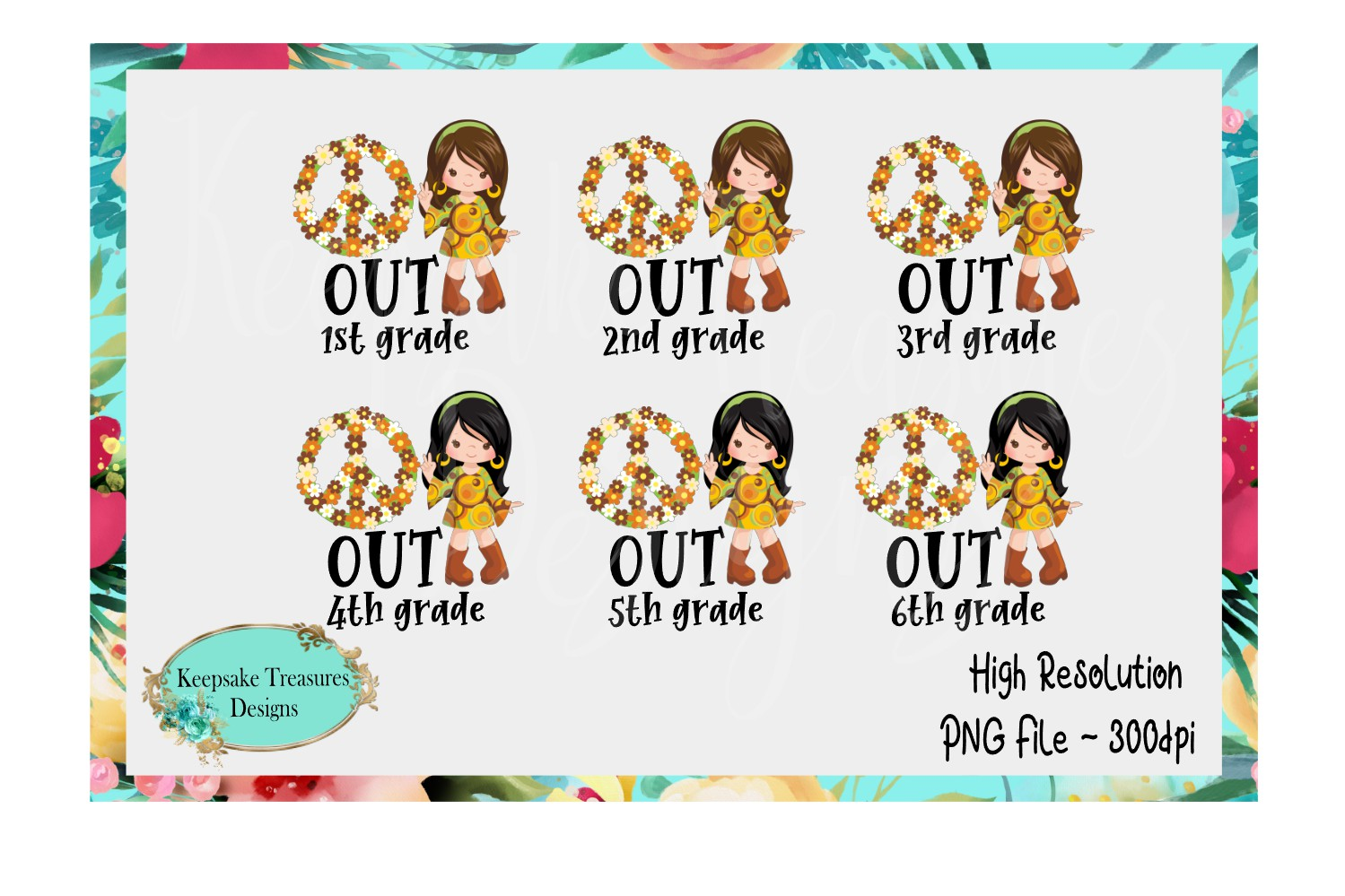 End of School Peace Out Grades 1-6 Girl Set example image 1