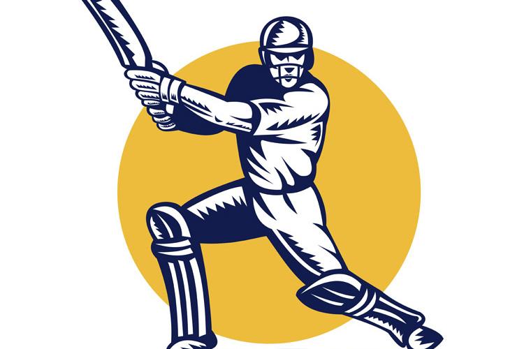 cricket sports batsman batting front view example image 1