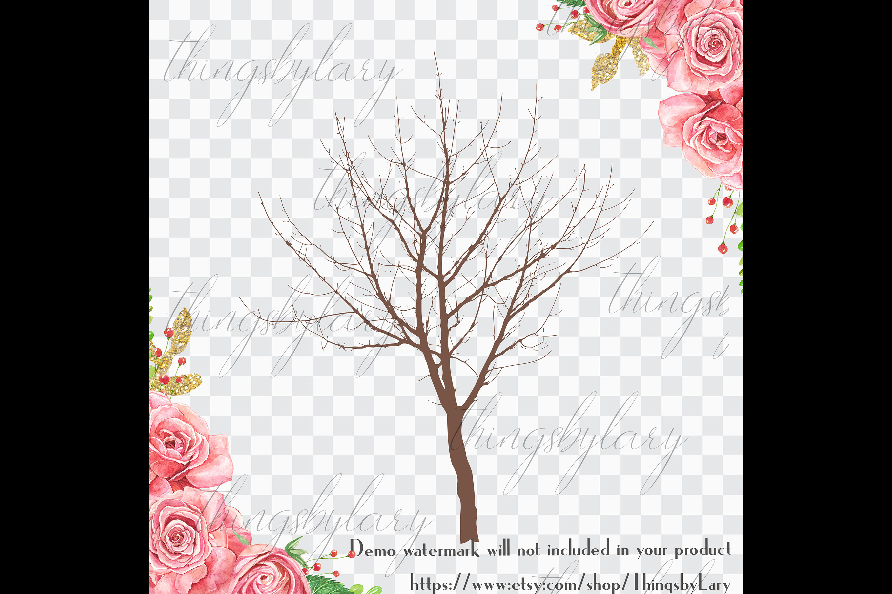 256 Winter Tree Branch Silhouette Wedding PNG Digital Images example image 2