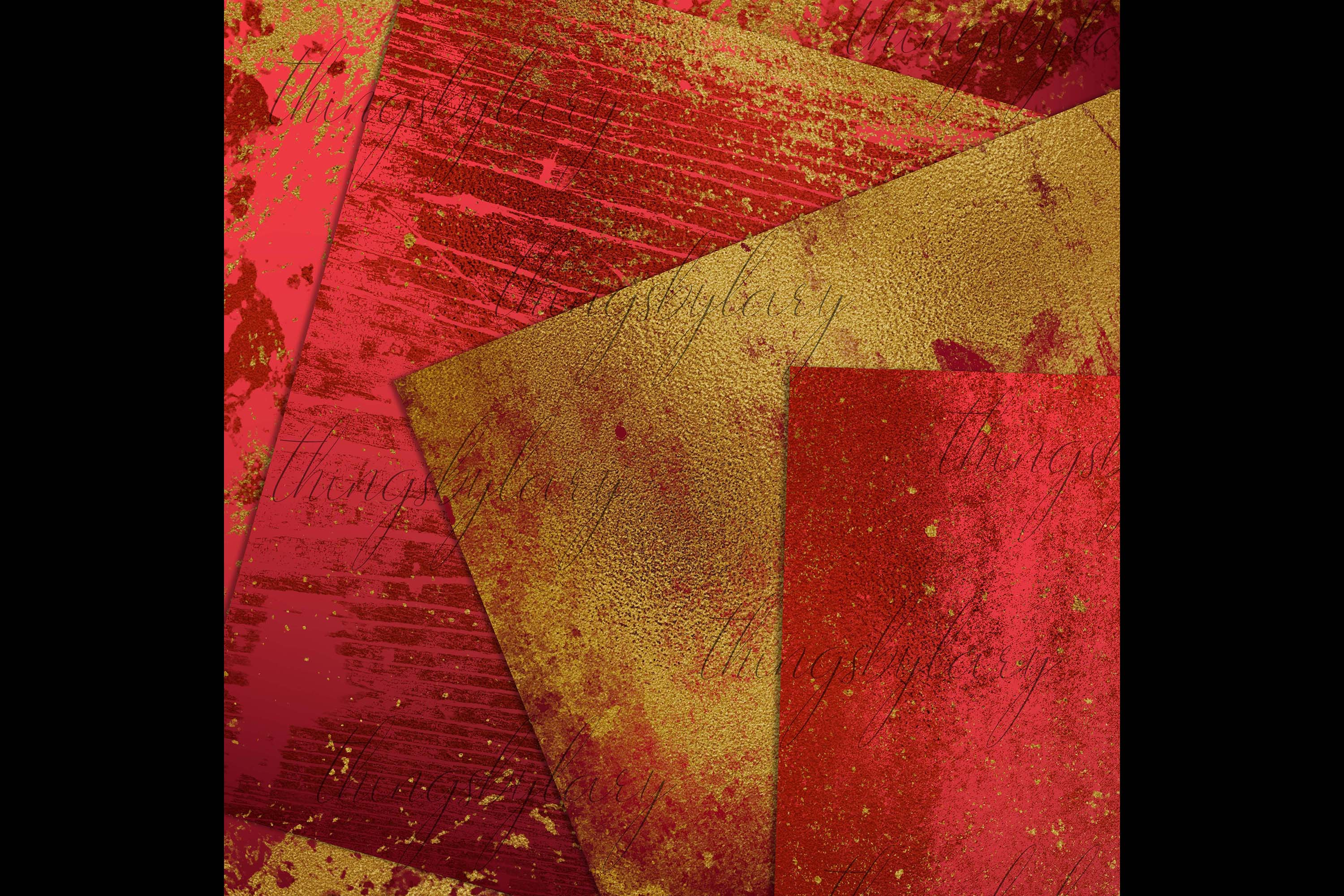 16 Distressed Red and Gold Artistic Painted Digital Papers example image 4