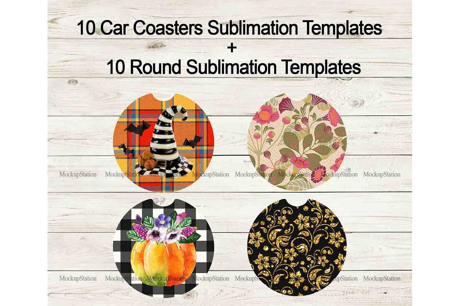 Fall Car Coaster Sublimation Template Bundle, Halloween PNG example image 2