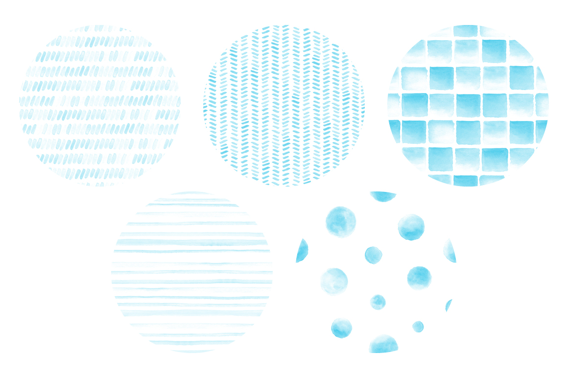 20 Seamless Watercolor Patterns Light Blue example image 2