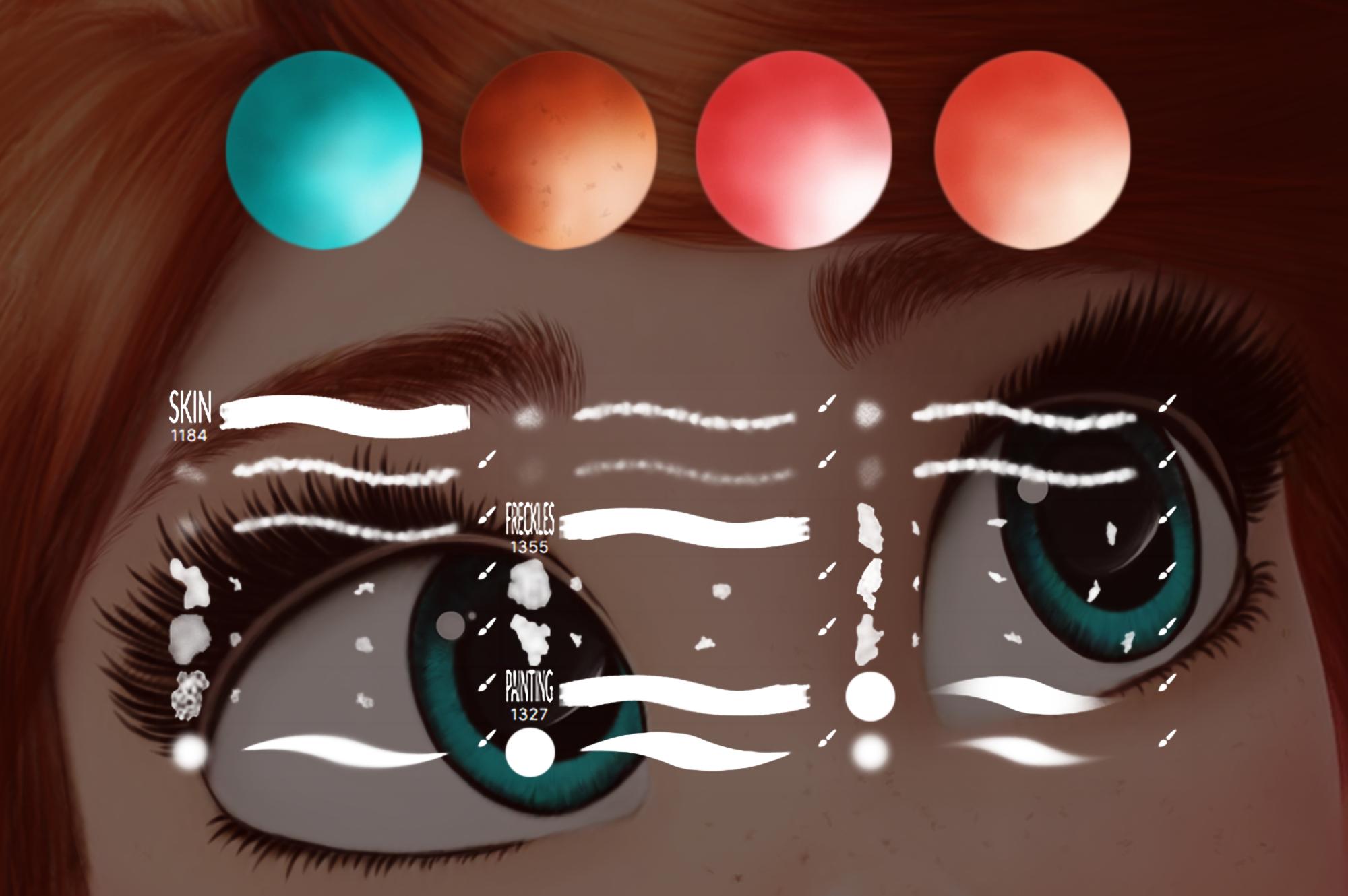 Cartoon Portrait Photoshop Brushes and Swatches set example image 3