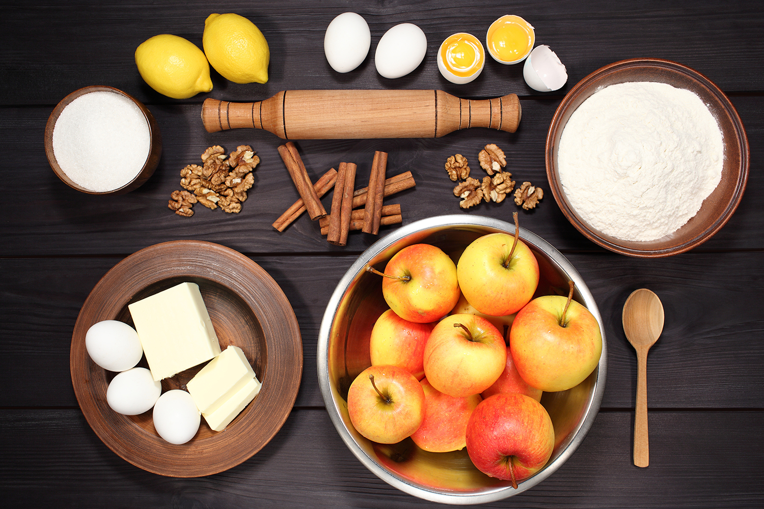 Set 12 photos Apple Pie and raw ingredients for baking. Sweet food series. Dessert. Top view example image 2