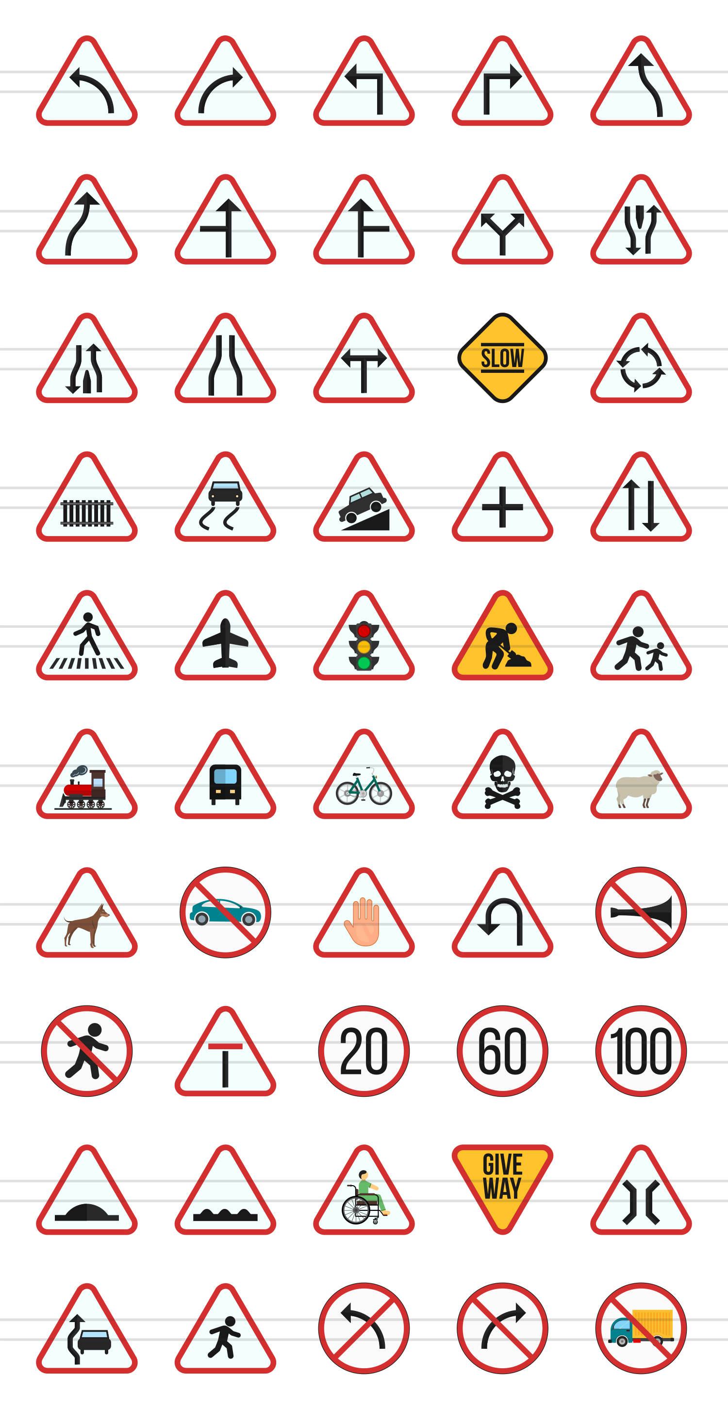 50 Traffic Signs Flat Multicolor Icons example image 2