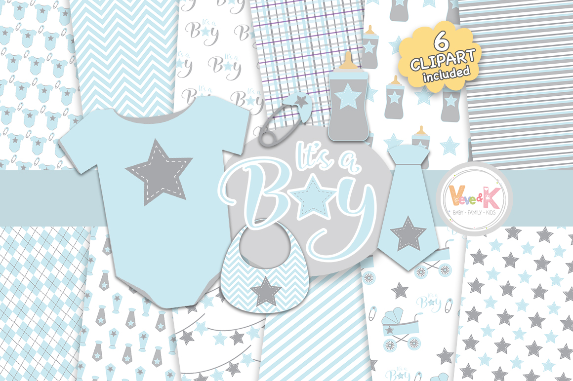 Baby Clip Art Baby Boy Clipart Baby Boyl Baby Shower Diy It S A Boy Blue And Gray Baby Shower Baby Shower Clipart 75948 Objects Design Bundles