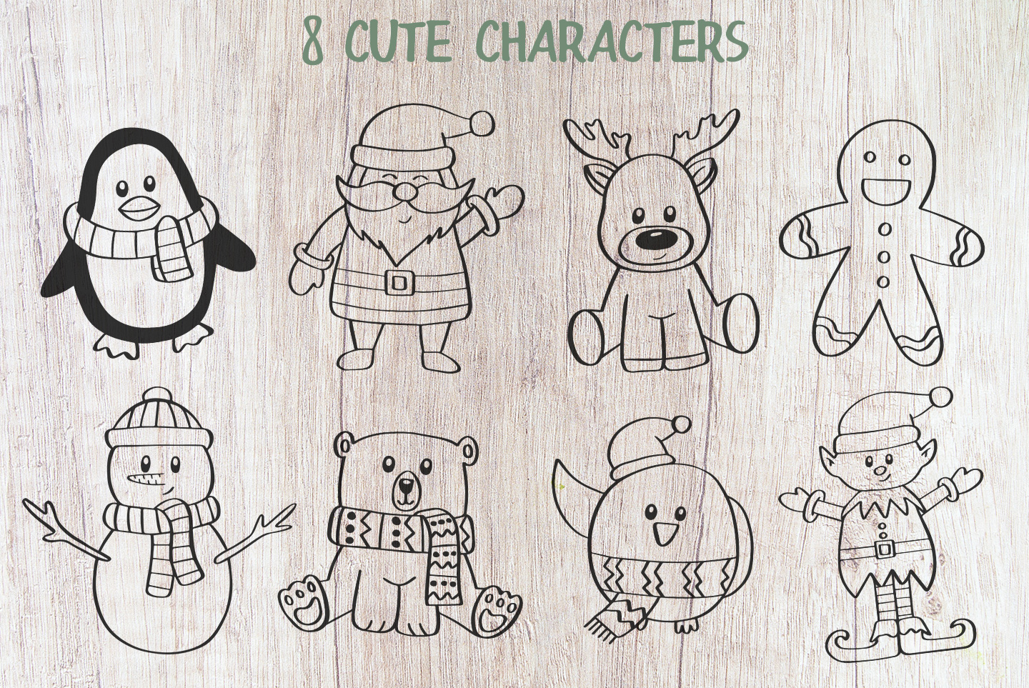 8 Christmas Characters, SVG, PNG, DXF, EPS example image 5