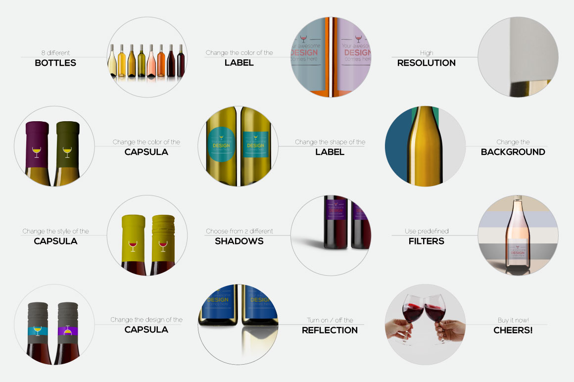 All-In-One Wine Bottle Mockup example image 13