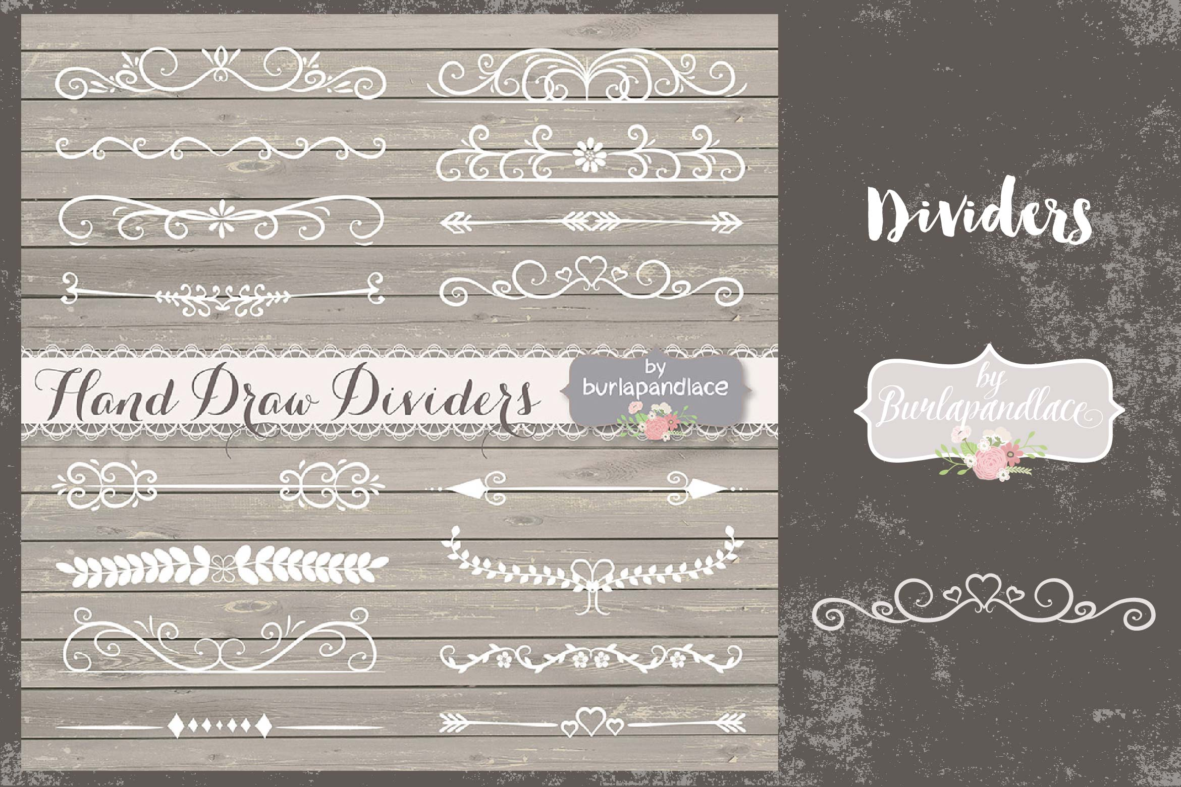 VECTOR Hand Drawn flourishes dividers  example image 1