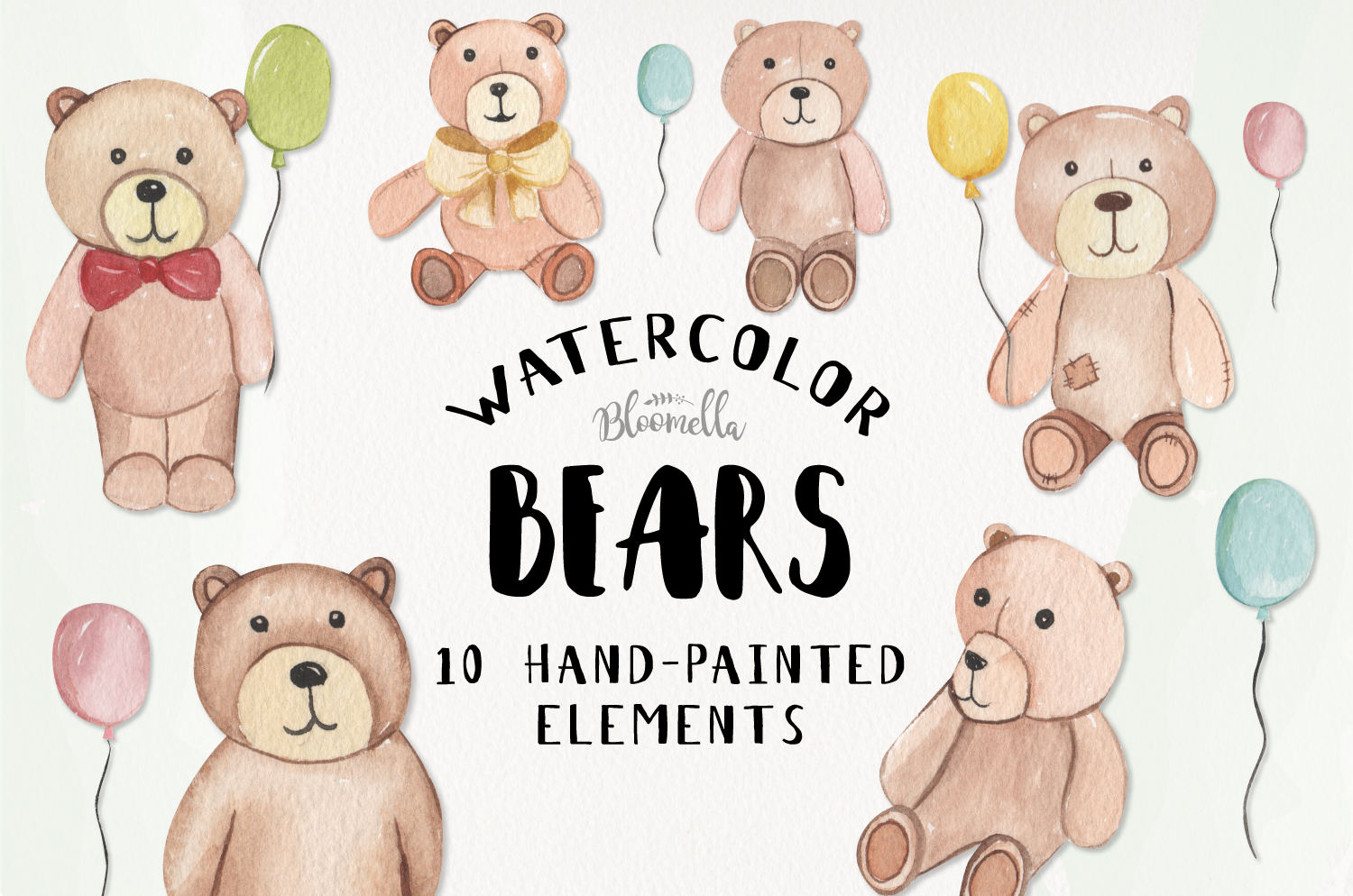 Teddy Bear Watercolor 10 Elements With Balloons Fun Bears example image 1