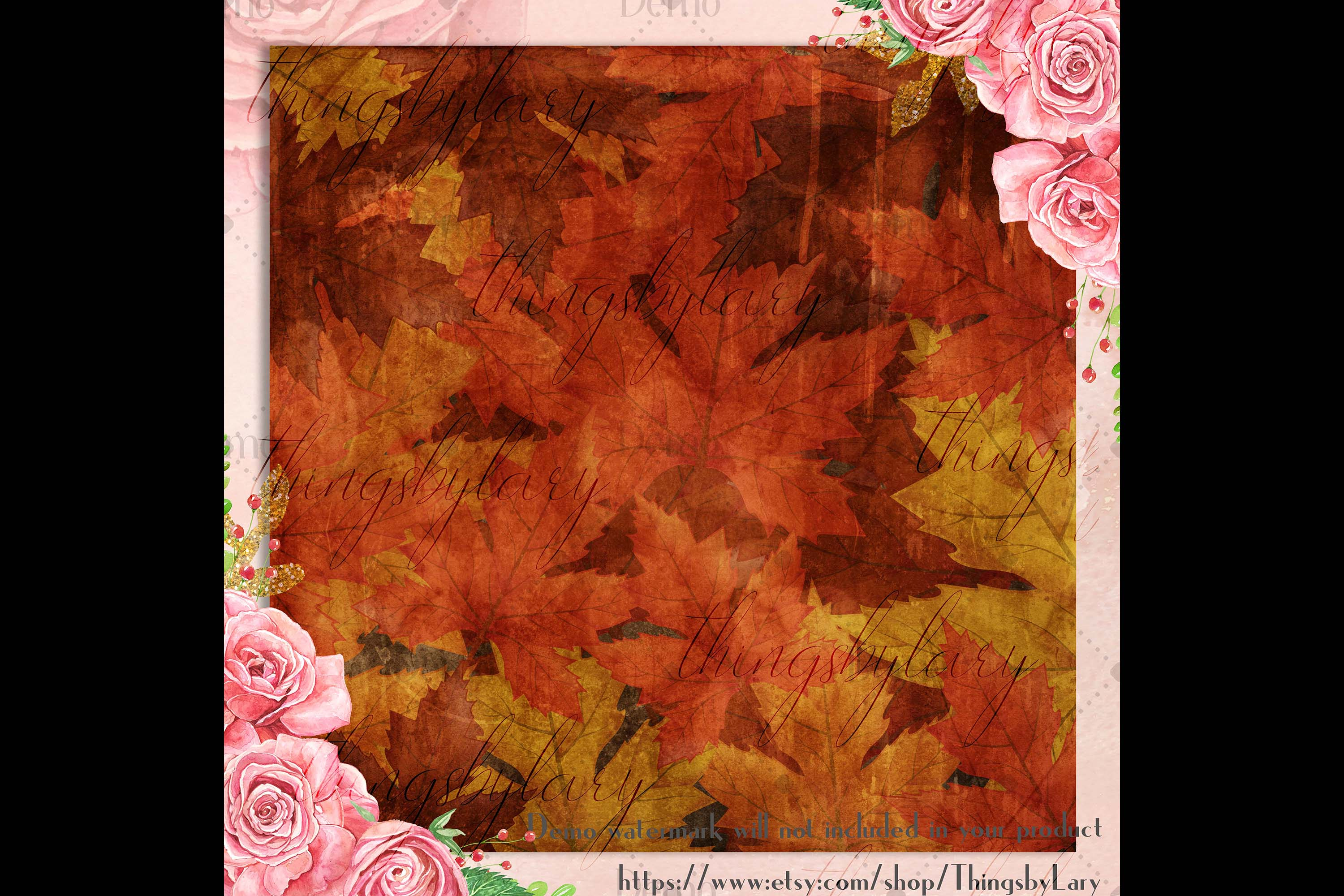 18 Autumn Leaves Digital Papers, thanksgiving fall wedding example image 2