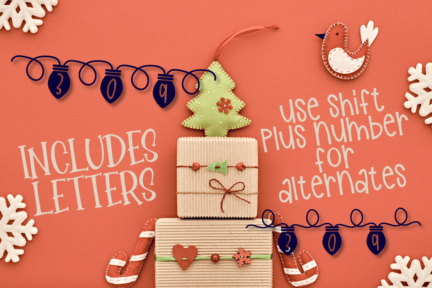 YULE - Christmas Lights Font  example image 6