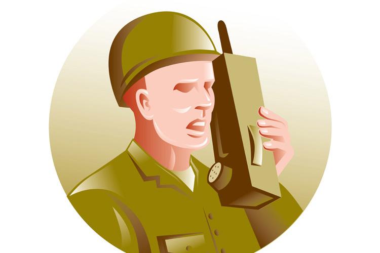 military soldier talking radio walkie-talkie example image 1