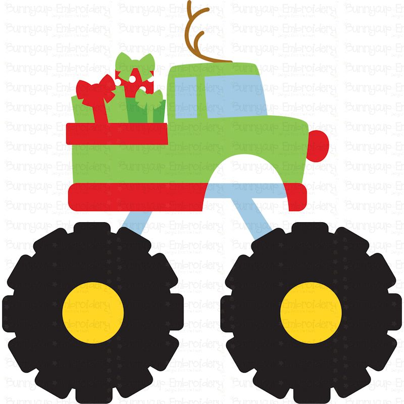 Christmas Monster Truck - SVG, Clipart, Printable example image 2