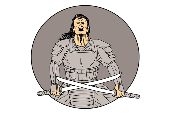 Angry Samurai Warrior Crossing Swords Oval Drawing example image 1