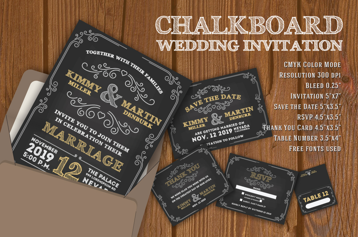 Chalkboard Wedding Invitation Card Template example image 1