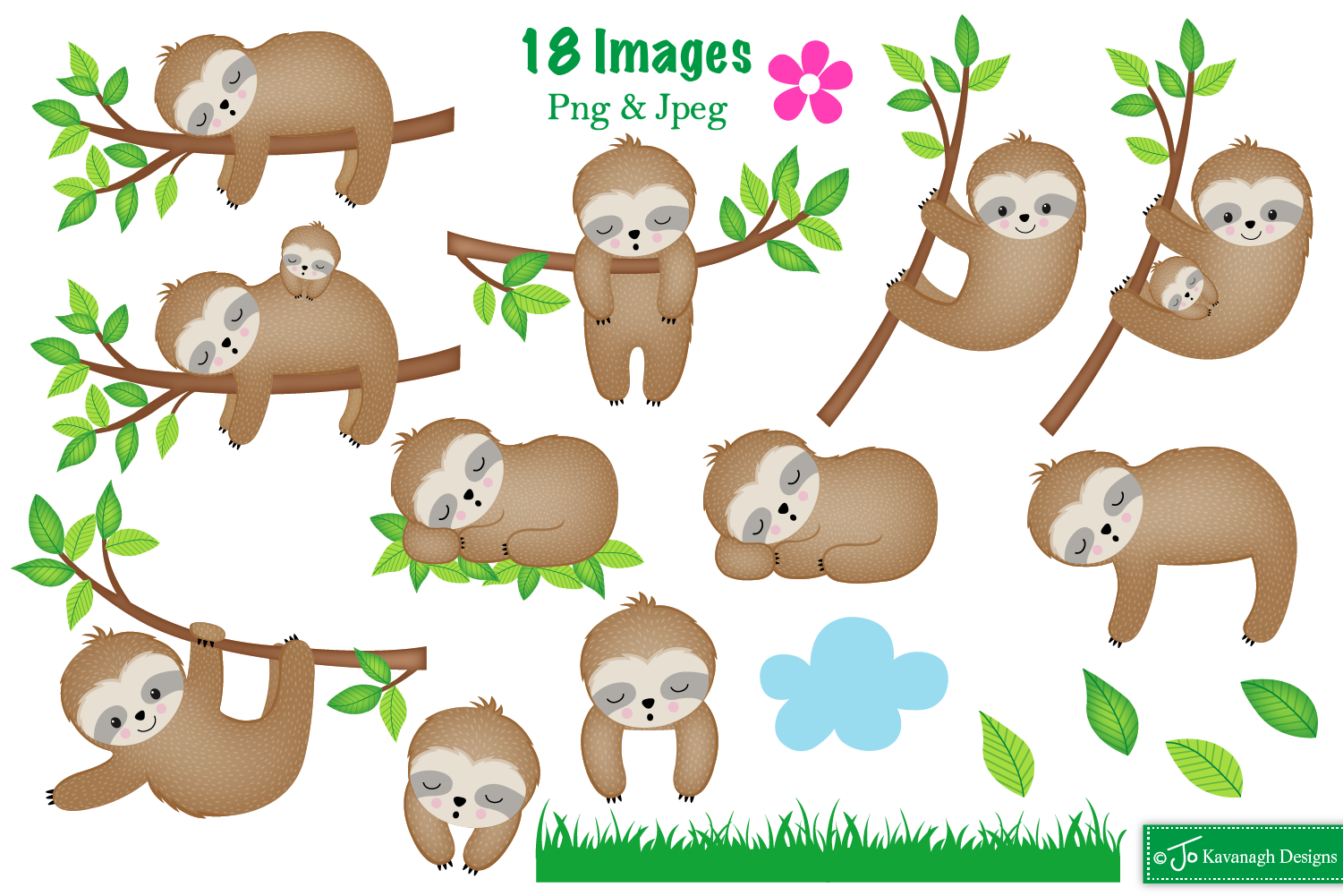 Sloth clipart,Sloth graphics & illustrations,Cute Sloths C28 example image 2
