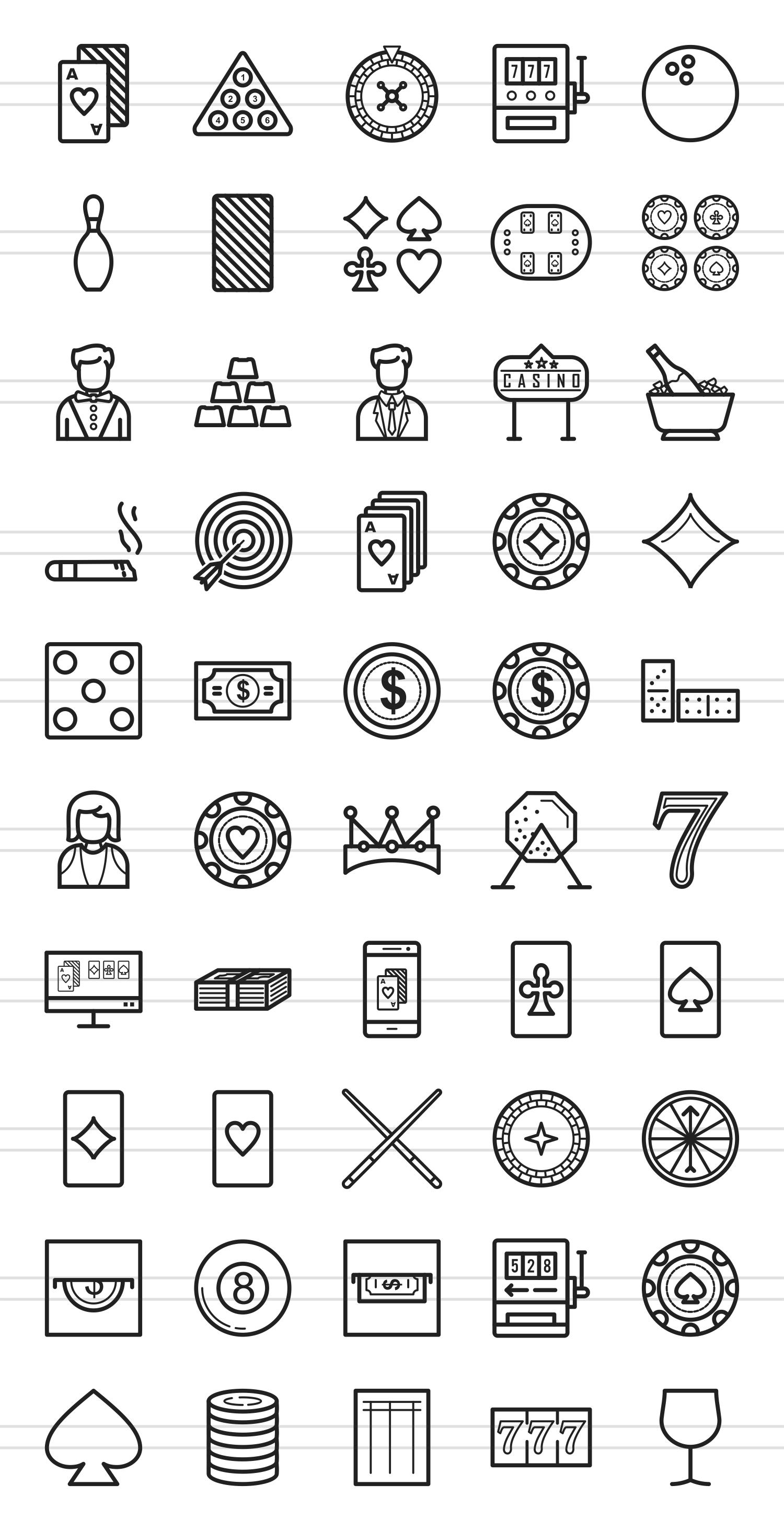 50 Casino Line Icons example image 2