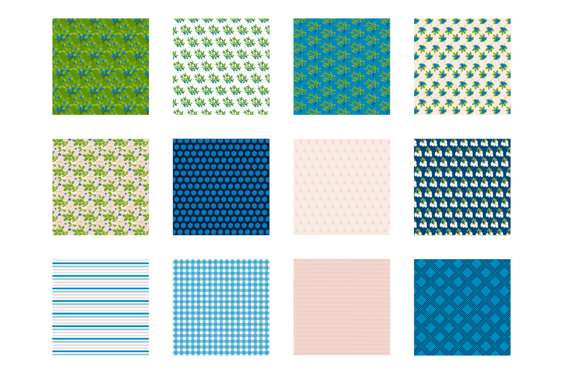 Blueberry Dream Pattern collection, vector ai, eps and jpeg example image 2
