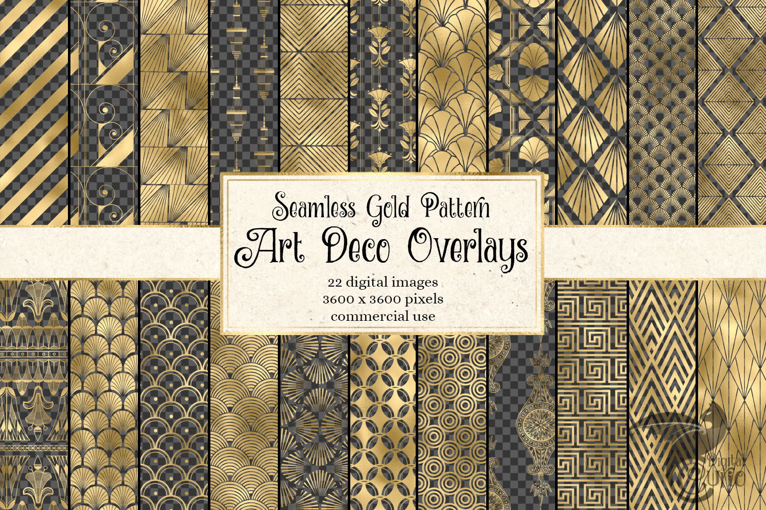 Gold Art Deco Pattern Overlays example image 1